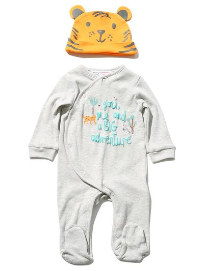 Minoti tiger sleepsuit and hat set (0 mths - 1 yr)