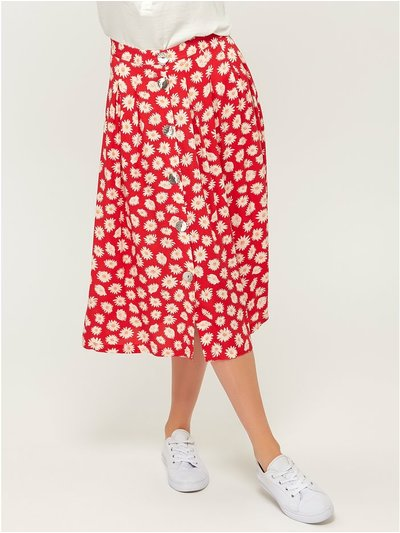 VILA floral button front midi skirt