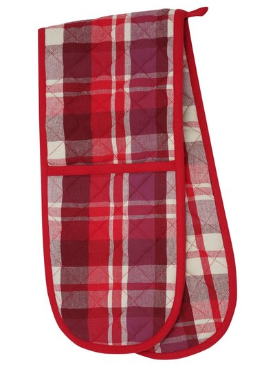 Red check double oven glove