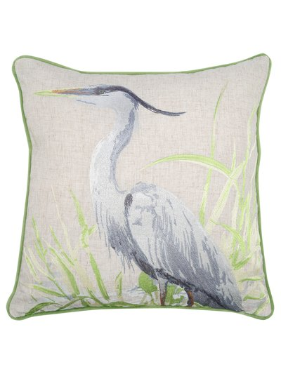 Heron embroidered cushion