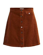 VILA button front cord skirt