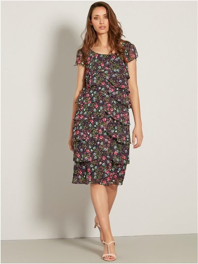 Ditsy floral chiffon shutter dress