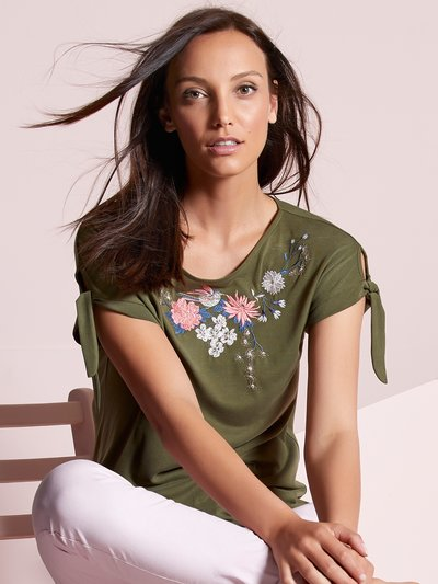 Floral embroidered tie sleeve top