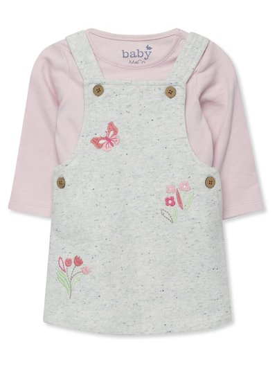 Floral pinafore dress and bodysuit set (Newborn-18mths)