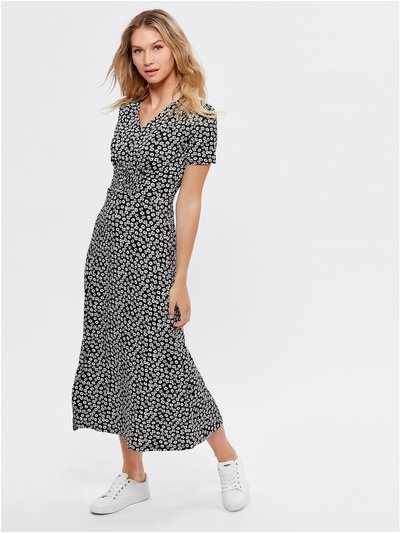 Shirred waist floral print midi dress