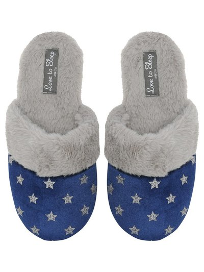 Star print faux fur mule slippers