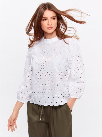 Petite high neck broderie anglaise top