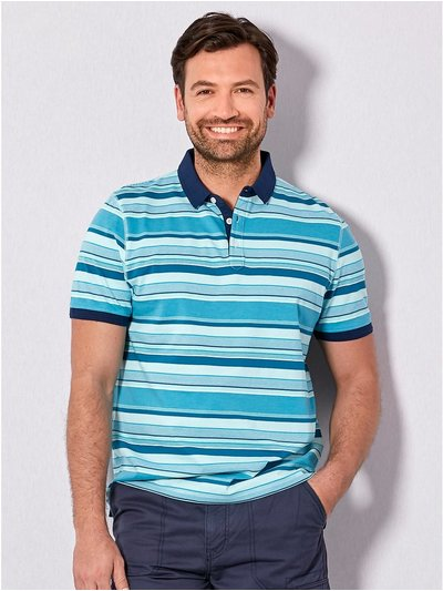 Blue stripe polo shirt