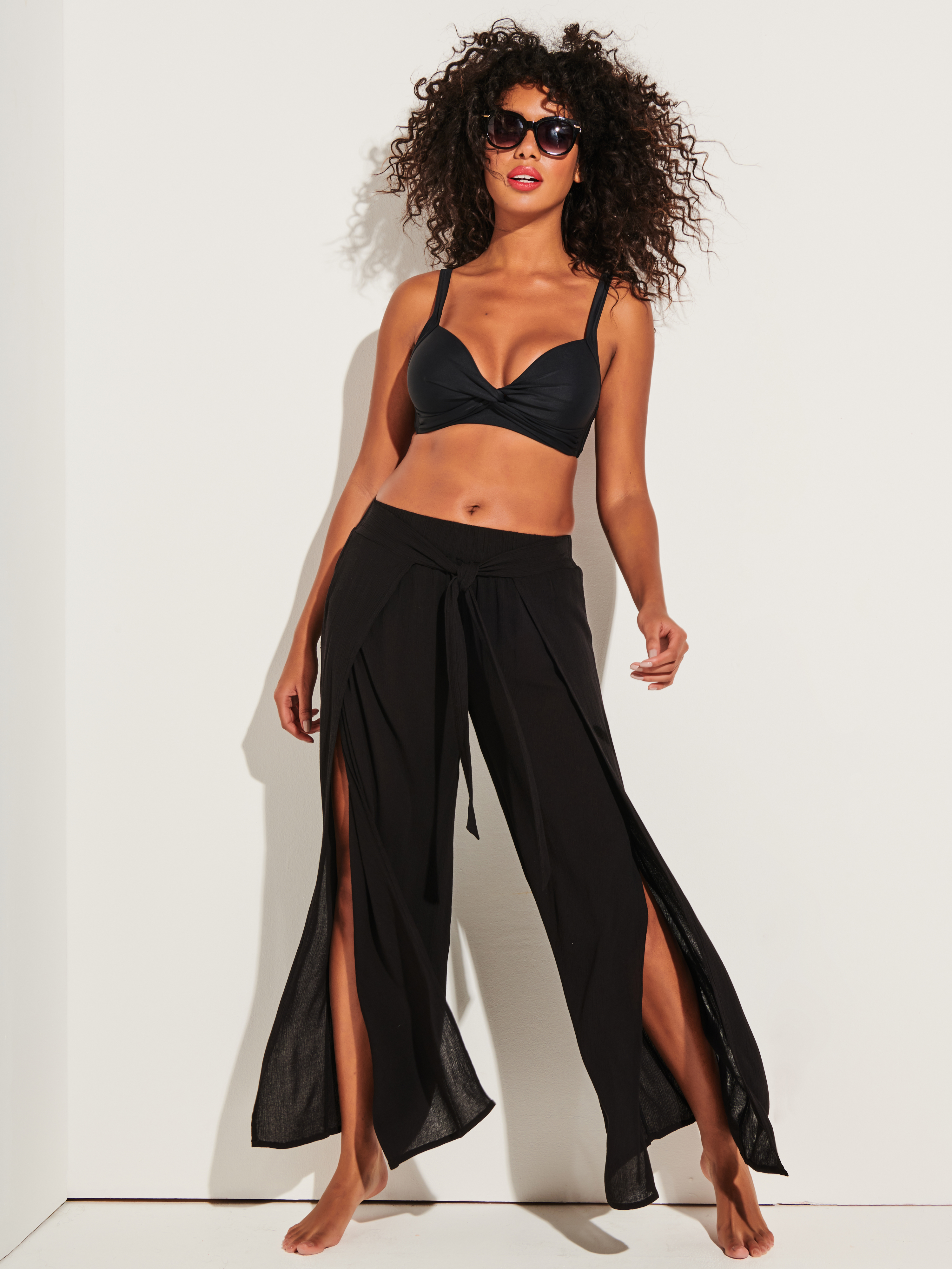 Black Wrap Beach Trousers and Bikini Set