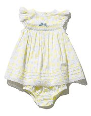 Lemon smock dress and knickers