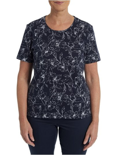 TIGI Navy Floral Patterned Top
