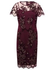 Floral velvet embroidered shift dress