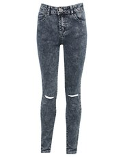 Teens' acid wash ripped skinny jeans