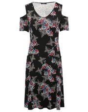Butterfly print cold shoulder dress