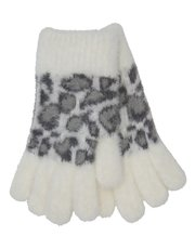 Leopard print eyelash fleece gloves