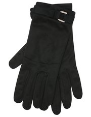 Suede buckle cuff gloves