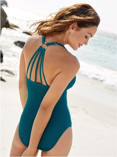 Ribbed halter neck swimsuit