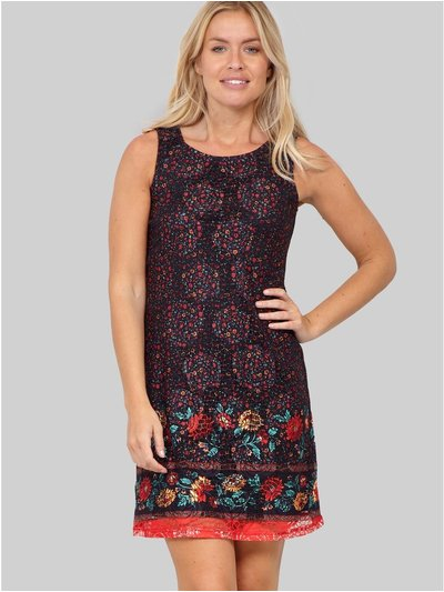 Izabel border print lace shift dress