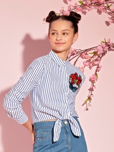 Teens' floral embroidered stripe shirt