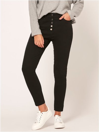 Petite button front skinny jeans