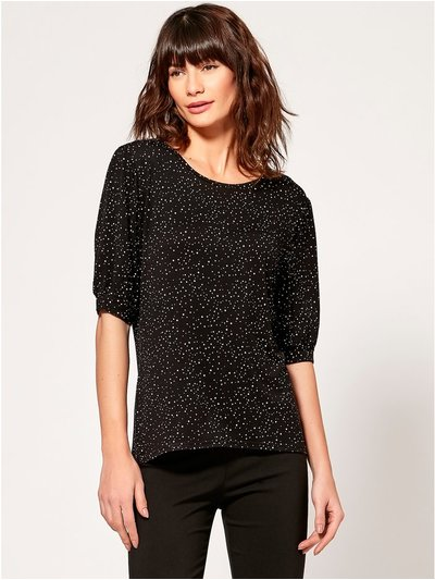 Spot puff sleeve top
