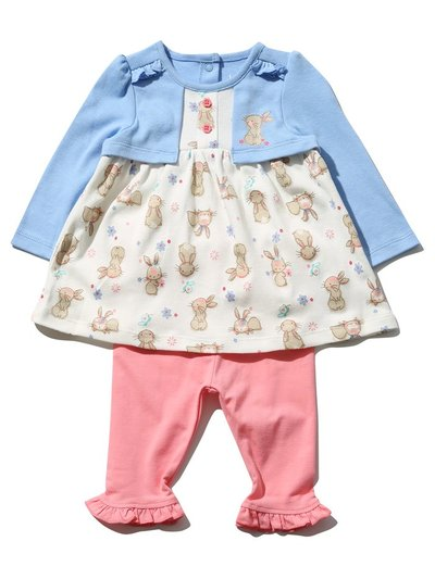 Bunny mock cardi top and leggings set (Newborn-18 mths)