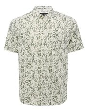 Green floral print short sleeve shirt