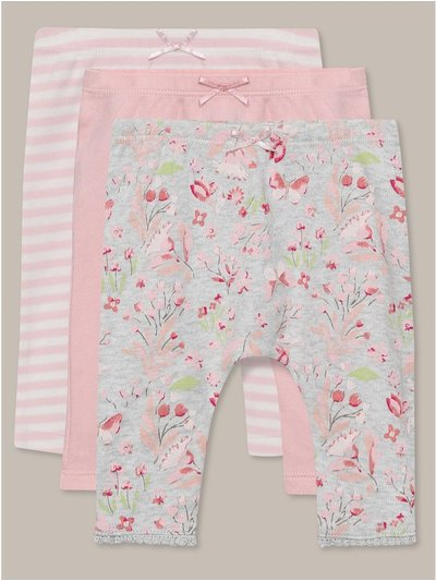 Floral stripe leggings three pack (0-18mths)