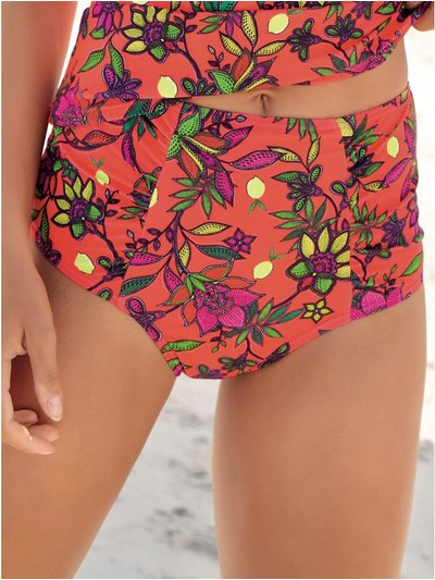 Tropical floral high waist control bikini bottoms