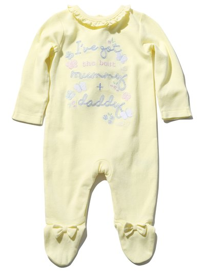 Mummy and daddy slogan frill sleepsuit