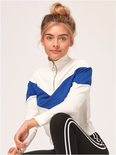 Teen zip neck stripe sweatshirt