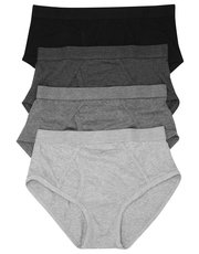 Pure Cotton Plain Grey Briefs Four Pack