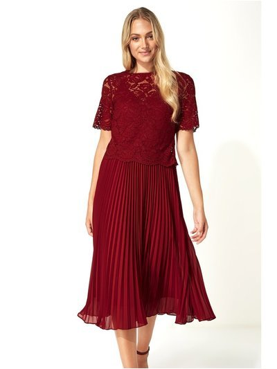 Roman Originals lace top overlay pleated midi dress