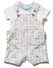 Bear Doodle Print Bibshort and Top Set