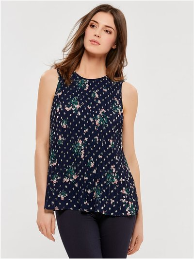 Pleated floral foil top