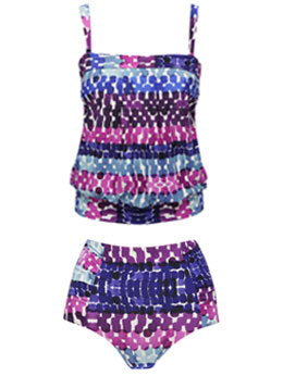 Purple Smudge Tankini Set