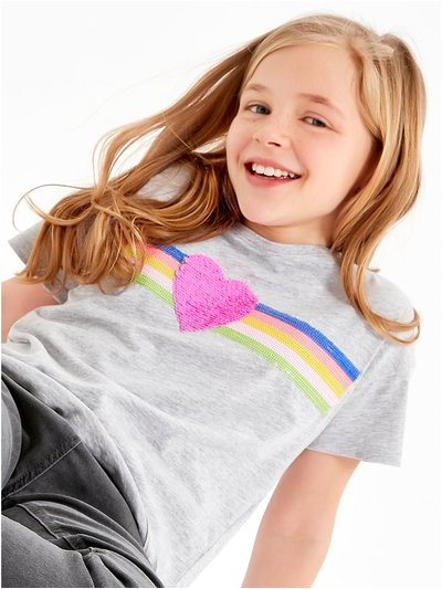 Heart two way sequin t-shirt (3-12yrs)