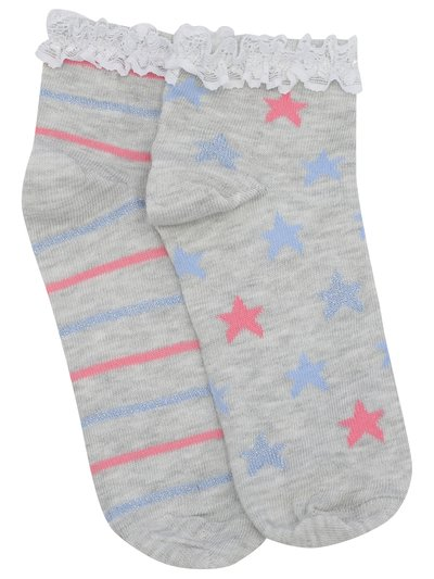 Teens' lace frill trainer socks two pack