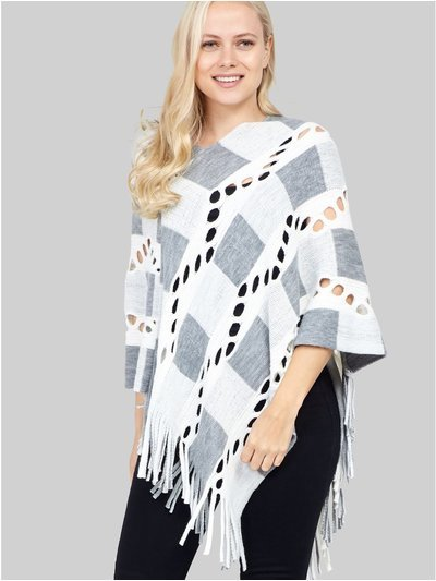 Izabel checked knit poncho