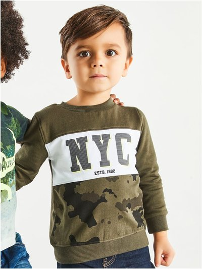NYC camo sweatshirt (9mths-5yrs)