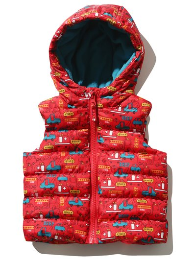 Transport print padded gilet