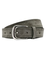 Grey embossed plait belt