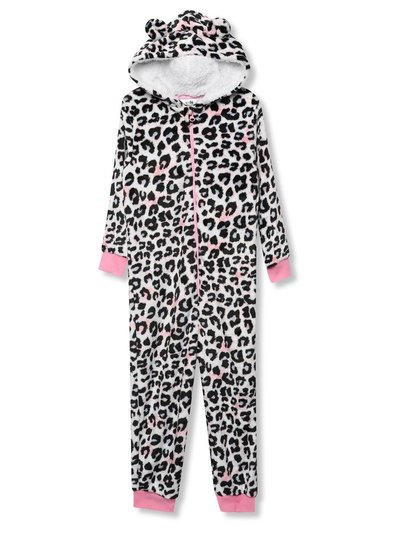 Fleece leopard onesie (4-13yrs)