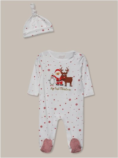 My first christmas hat and sleepsuit set (tinybaby-18mths)