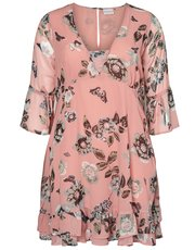 Junarose floral print frill trim dress