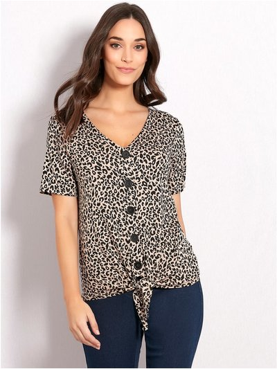 Leopard print button tie front top