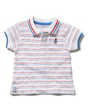 Stripe anchor polo shirt