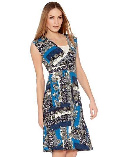 Patchwork print wrap dress