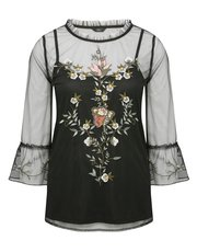 Floral mesh embroidered flute sleeve top