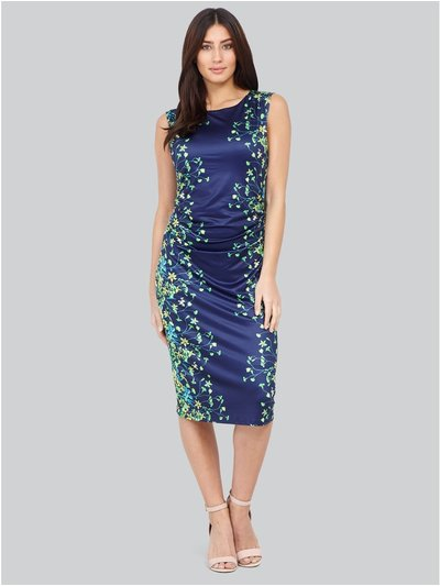 Izabel floral ruched bodycon dress